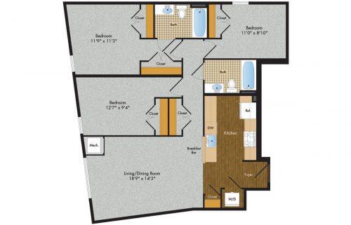 3 Tree Flats 3 Bedroom Floor Plan